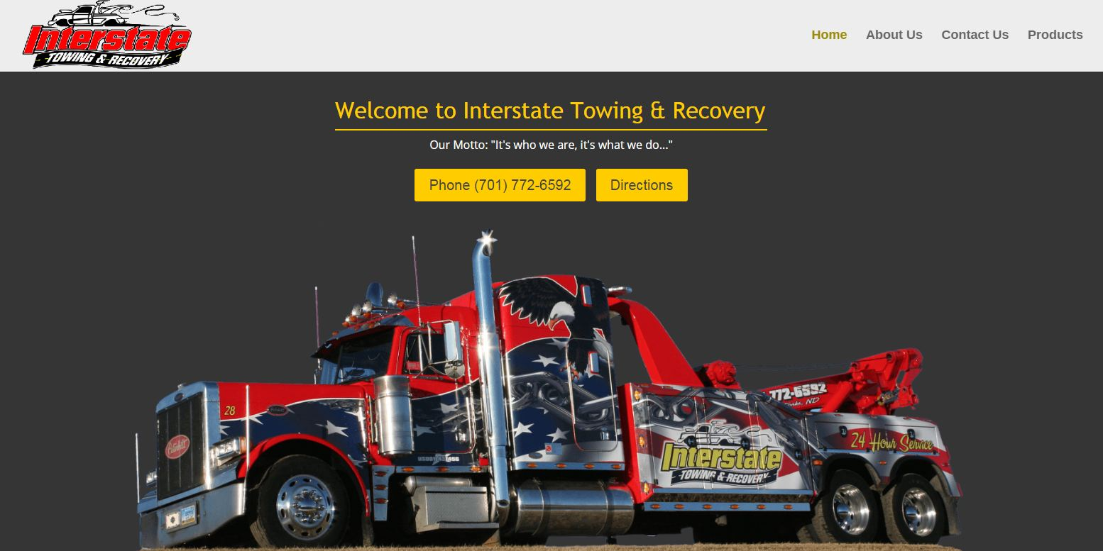 Tow Truck Web Design Desktop View